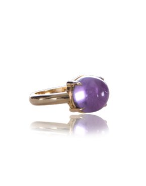 annellino london amethyst cabochon yellow gold ring front