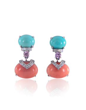 annellino london turquoise white diamond and coral earrings