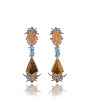 annellino london citrine pineapple aquamarine earrings