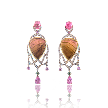 annellino london tourmaline and pink handmade earrings