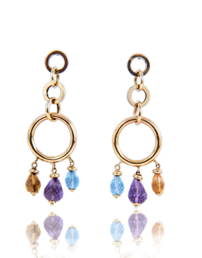annellino london esmeralda amethyst topaz citrine hoop drop earrings gold