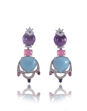 elia amethyst aquamarine and pink spinel handmade annellino london earrings