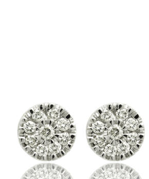 nine white diamond studs 18kt white gold