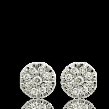 nine white diamond studs 18kt white gold
