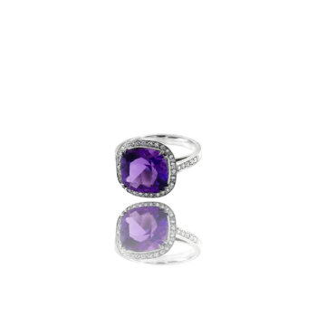 Amethyst and White Diamond surround Cocktail Ring Made in Italy