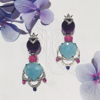 flower lifestyle photo white diamond amethyst aquamarine earrings