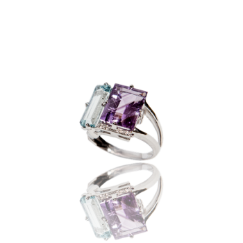 Amethyst Topaz White Diamond Cocktail Ring 18kt White Gold Made in Italy