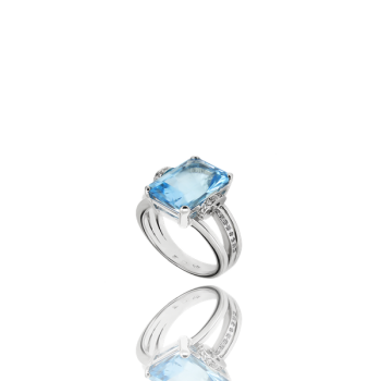 Aquamarine and White Diamond Cocktail Ring 18kt Gold Made in Italy