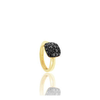 Black Diamond Square Cocktail Ring 18kt Yellow Gold