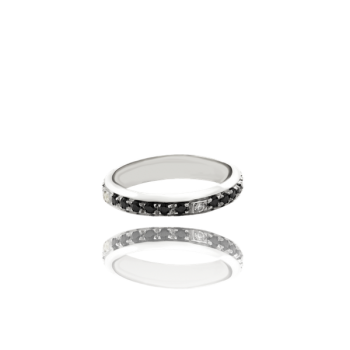 Black and White Diamond Channel Set eternity band in 18kt White Gold Made in Italy