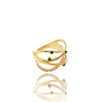 Emerald White Diamond 18kt Yellow Gold Cocktail Ring