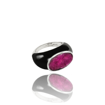 Pink Brazilian Rosanite and Enamel Cocktail ring in 18kt White gold