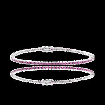 Pink Sapphire Tennis Bracelet 18kt White Gold Italian Bracelet