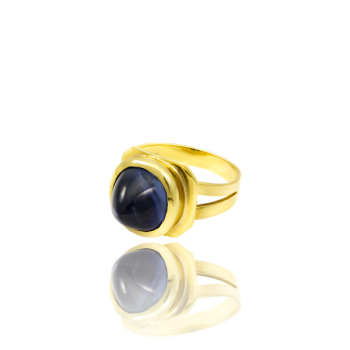 Sugarloaf Sapphire 18kt Yellow Gold Ring Made in Italy