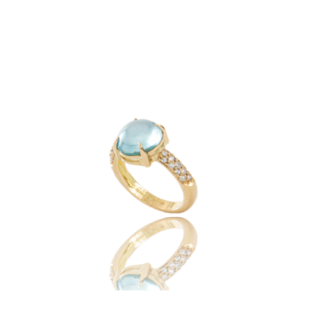 Topaz and White Diamond Cocktail Ring Made in Italy 18kt Yellow Gold