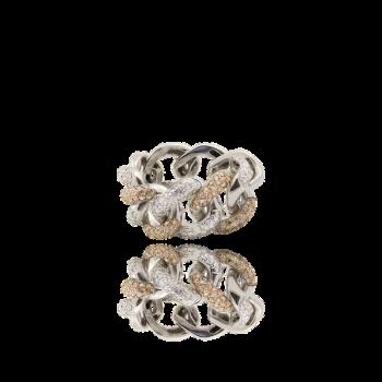 White Diamond Champagne Diamond Curb Chain Ring Italian 18kt Gold Cocktail