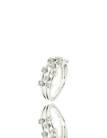 White Diamond Three band Cocktail 18kt White Gold Italian Ring