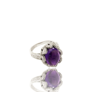 White Diamond and Amethyst Cocktail Ring Made in Italy