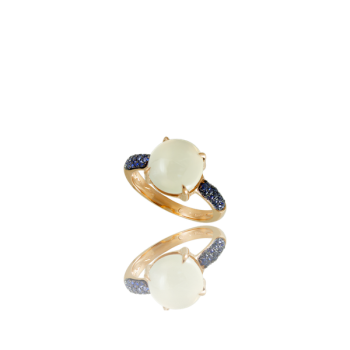White moonstone Sapphire 18kt Yellow Gold