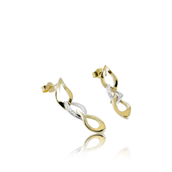 18k Gold and White Diamond Earrings