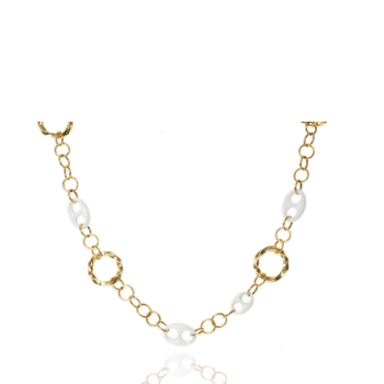 18kt Yellow Gold Chain link necklace with white onyx made in Italy