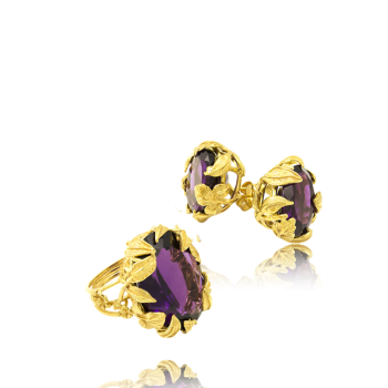 Amethyst 18k Gold Earrings with Leaf Detail