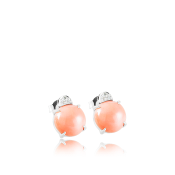 Angel Coral and White Diamond Earrings