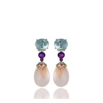 Aquamarine and Amethyst Cocktail Earrings