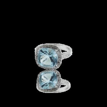 Aquamarine and White Diamond Surround Engagament Ring Made in Italy