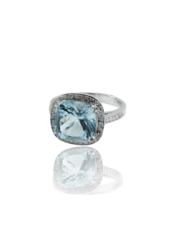 Aquamarine and White Diamond Surround Engagament Ring Made in Italy