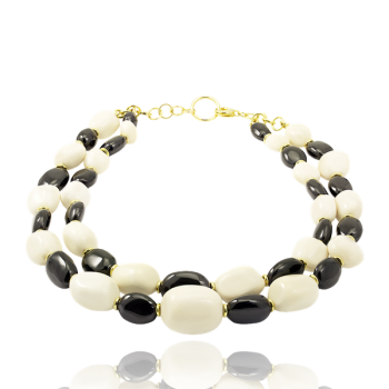 Black Onyx and 18kt Yellow Gold Necklace Made in Italy