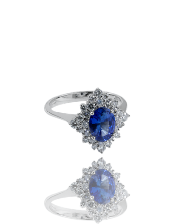 Blue Sapphire and White Diamond Ring bridal page