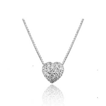 Domed Heart White Diamond Necklace