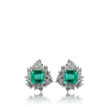 Emerald and White Diamond Cocktail Earrings Made in Italy