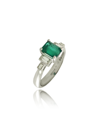Emerald and White Diamond Five Stone Ring Made in Italy