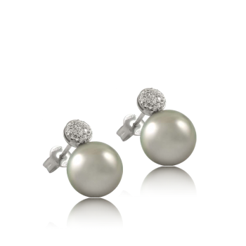 Grey Pearl and White Diamond Side View Earrings