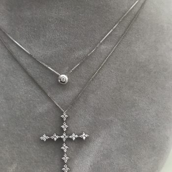 White Diamond Cross White 18k Gold