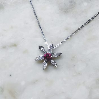 ruby and white diamond flower necklace