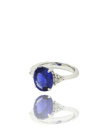 Tanzanite Triolgy White Diamond Trilliant 18kt Gold Made in Italy Engagament Ring
