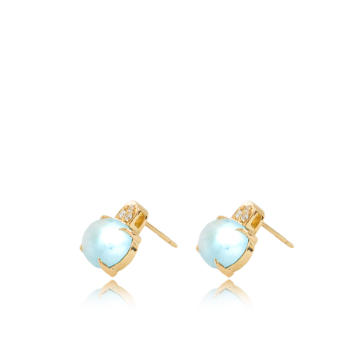Topaz and Trio White Diamond Studs