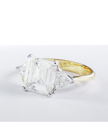 Trilogy Square emerald cut Ring