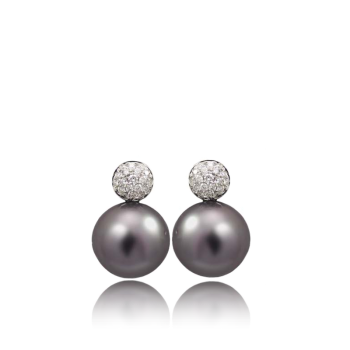 Viola Pearl and White Diamond Made in Italy Earrings