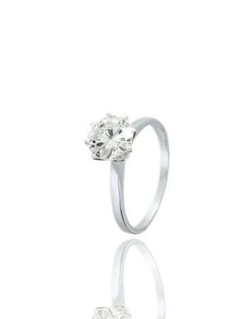 White Diamond Engagment Ring 18k White Gold Made in Italy