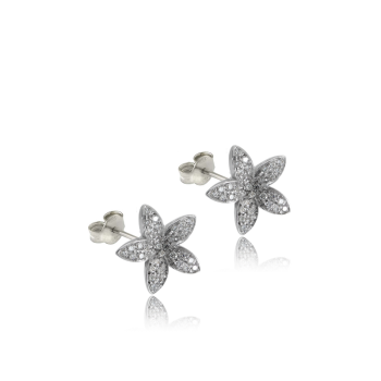 White Diamond Flower Earrings 18k White Gold Made in Italy