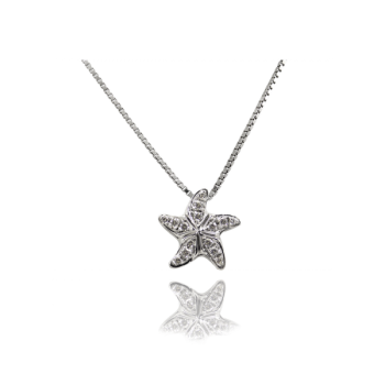 White Diamond Starfish Pendant