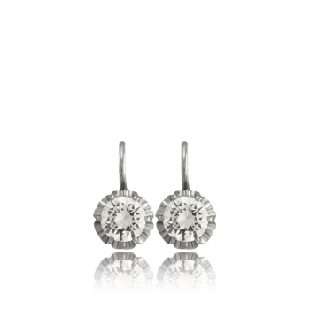 White Diamond and18k White Gold Earrings