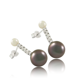 White Pearl and Grey Pearl White Diamond Earrings