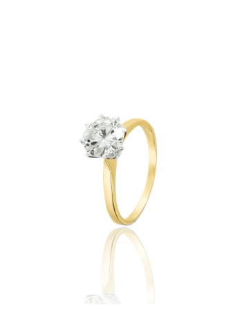 Yellow 18k Gold Solitaire Diamond Engagment Ring