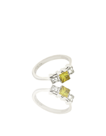 Yellow Sapphire and White diamond 18kt White Gold Ring Engagement Italy Handmade