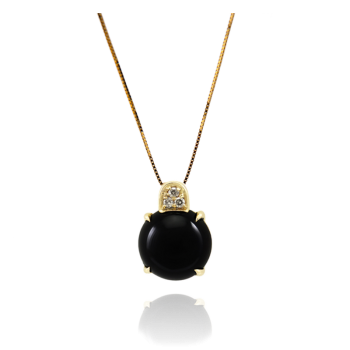 Black Agate and White Diamond Pendant